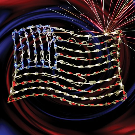 36 Quot Lighted Led Waving American Flag Small Holidynamics Holiday Lighting Solutions