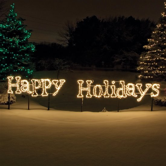 18 Led Lighted Happy Holidays Sign Classic White